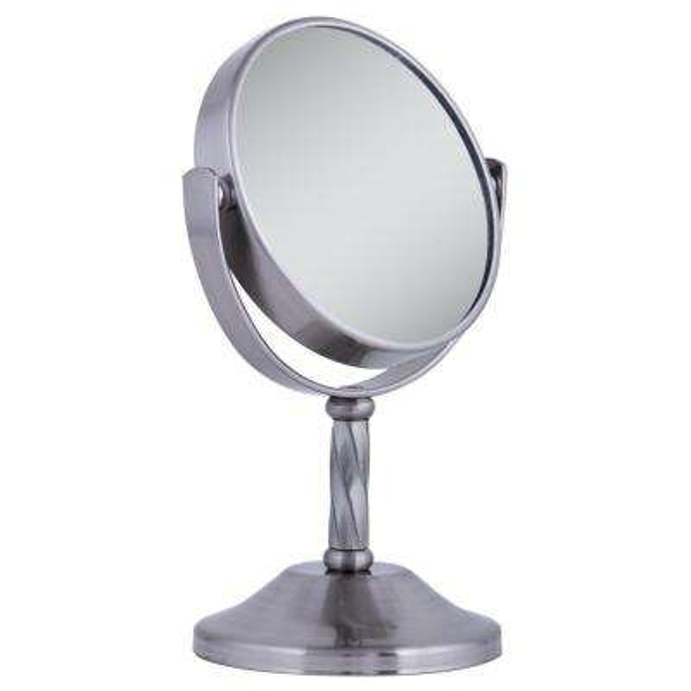 4 in. x 6 in. 3X/1X Swivel Vanity Mirror in Satin Nickel