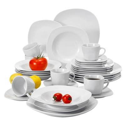 ELISA 30-Piece White Porcelain Dish Set Dinner Plates Cups and Saucers Set (Set of 6)