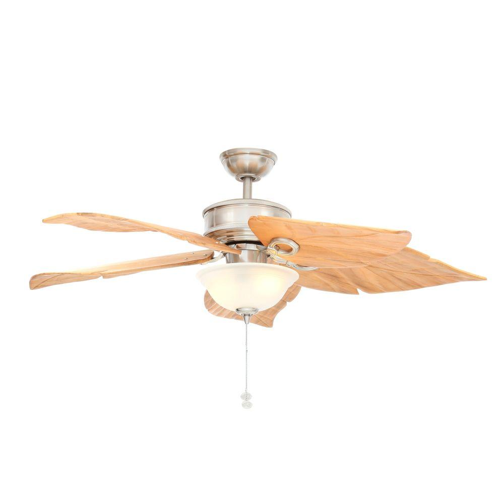 Hampton Bay Costa Mesa 56 in. Indoor/Outdoor Brushed Nickel Ceiling Fan with Light Kit
