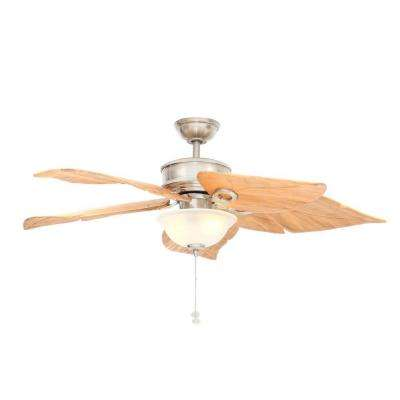 Costa Mesa 56 in. Indoor/Outdoor Brushed Nickel Ceiling Fan with Light Kit