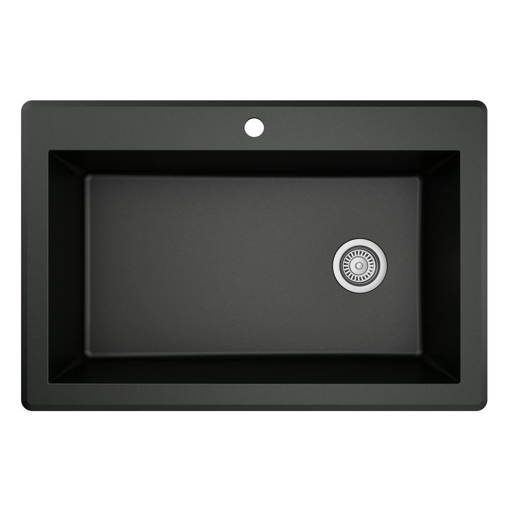 Karran Drop-In Quartz Composite 33 in. 1-Hole Single Bowl Kitchen Sink in Black