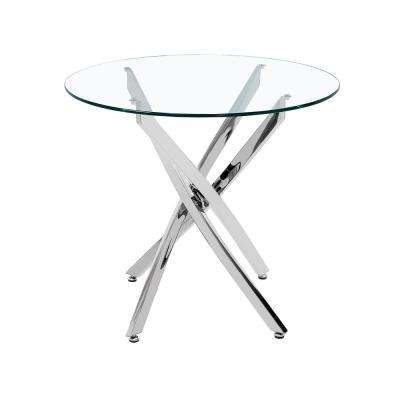 Kiara Contemporary Round Silver Stainless Steel Bistro Dining Table with Tempered Glass Top