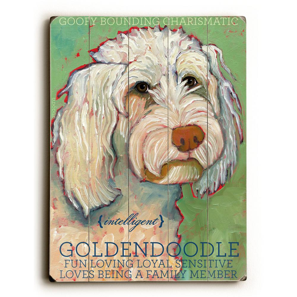 "12 in. x 16 in. ""Goldendoodle"" by Ursula Dodge ""Planked"