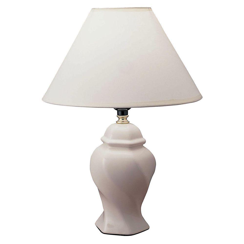 13 in. Ceramic Ivory Table Lamp