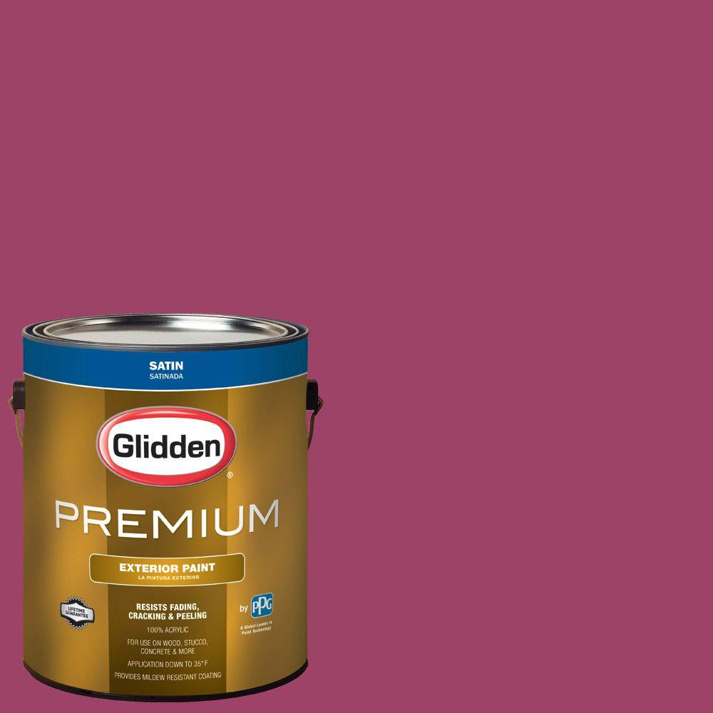 Glidden Premium 1-gal. #HDGR01 Very Berry Satin Latex Exterior Paint ...