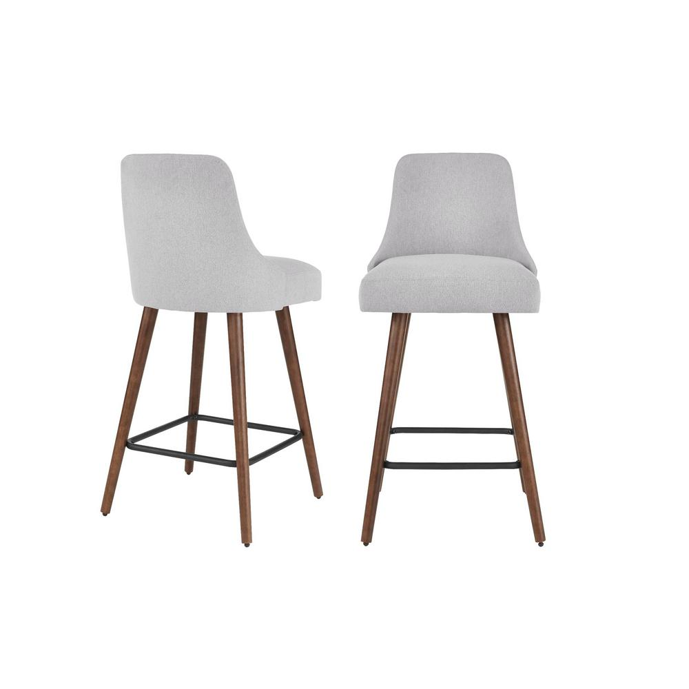 StyleWell Benfield Sable Brown Wood Upholstered Bar Stool with Back and Stone Gray Seat (Set of 2) (19.68 in. W x 41.73 in. H), Stone Gray/Sable was $279.0 now $167.4 (40.0% off)