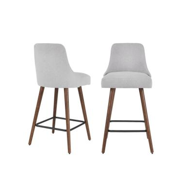 Benfield Sable Brown Wood Upholstered Bar Stool with Back and Stone Gray Seat (Set of 2) (19.68 in. W x 41.73 in. H)