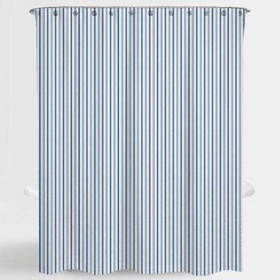 72 in. x 72 in. Stripe Blue Two Tone Resa Water Repellent Shower