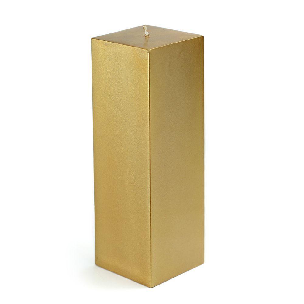 3 in. x 9 in. Metallic Bronze Gold Square Pillar Candle Bulk (12-Box)