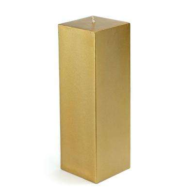 3 in. x 9 in. Metallic Bronze Gold Square Pillar Candle Bulk (12-Box)