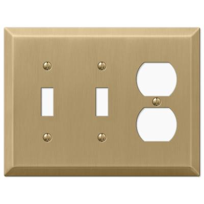 Metallic 3 Gang 2-Toggle and 1-Duplex Steel Wall Plate - Brushed Bronze
