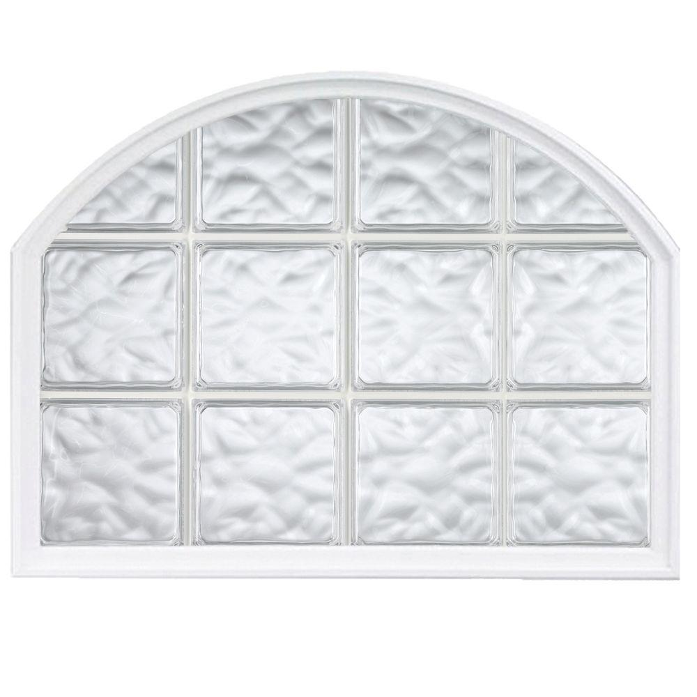 Hy lite 42 in x 50 in acrylic block arch top vinyl glass for Acrylic glass block windows