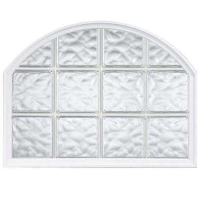 42 in. x 50 in. Acrylic Block Arch Top Vinyl Window - White