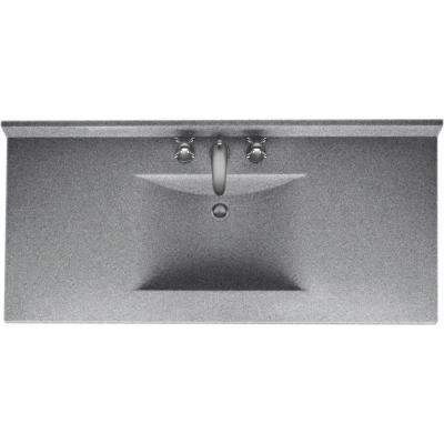 Contour 43 in. W x 22 in. D Solid Surface Vanity Top with Sink in Gray Granite