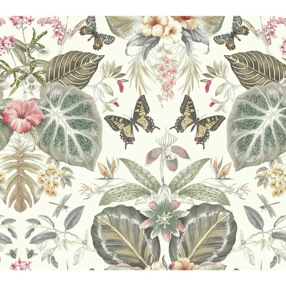 60.75 sq. ft. Outdoors in Tropical Butterflies Wallpaper