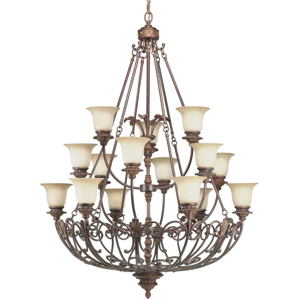 Progress Lighting Messina Collection 15-Light Aged Mahogany Chandelier