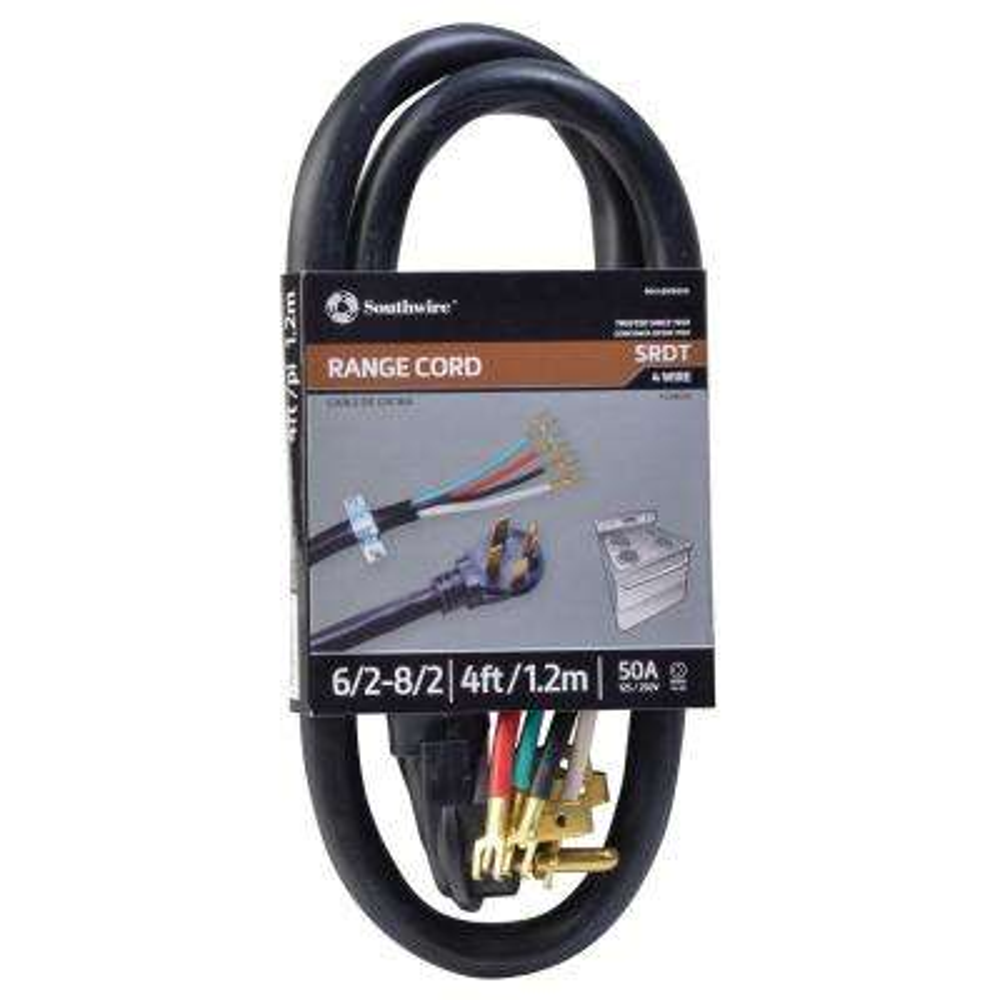 4 ft. 6/2-8/2 Round Range Cord in Black
