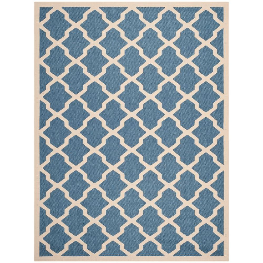 Courtyard Blue/Beige 9 ft. x 12 ft. Indoor/Outdoor Area Rug