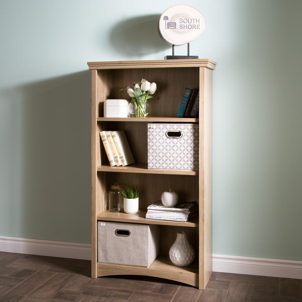 SouthShore South Shore Artwork Rustic Oak Open Bookcase