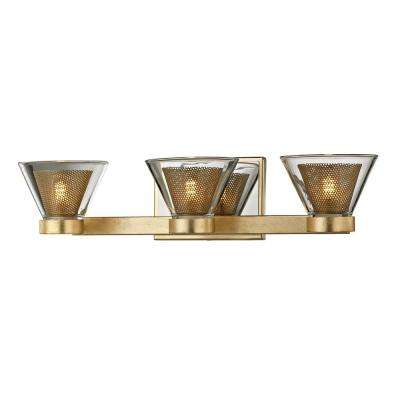 Wink 3-Light Gold Leaf 20 in. W LED Bath Light with Polished Chrome Accents and Clear Glass Shade