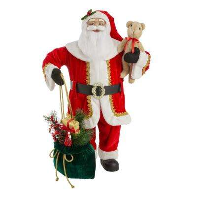 3 ft Christmas Santa with present bag and bear