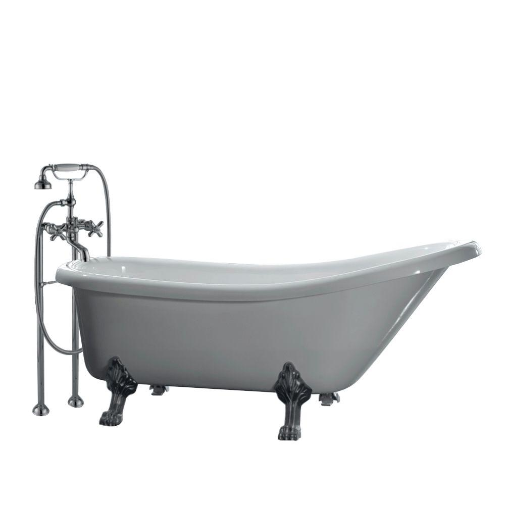 All-In-One 5.5 ft. Acrylic Satin Nickel Clawfoot Feet Slipper Tub in