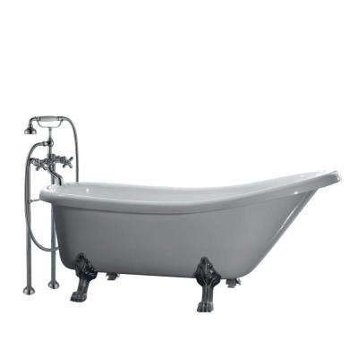 All-In-One 66 in. Acrylic Satin Nickel Clawfoot Feet Slipper Tub in White