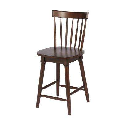 Elise 24 in. Walnut Counter Height Swivel Bar Stool (Individual)