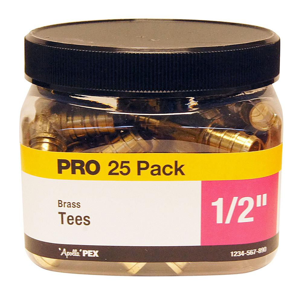 1/2 in. Brass PEX Barb Tee Jar (25 Pack)