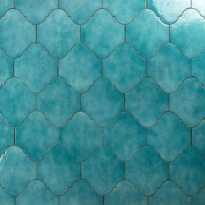 Appaloosa Arabesque Sea Blue 8 in. x 10 in. 10mm Polished Porcelain Floor & Wall Tile (18-piece 10.54 sq. ft. / box)