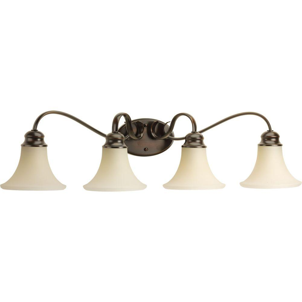 Applause Collection 4-Light Antique Bronze Vanity Light with Natural Parchment