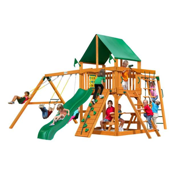 Navigator Wooden Swing Set with Green Vinyl Canopy and Monkey Bars