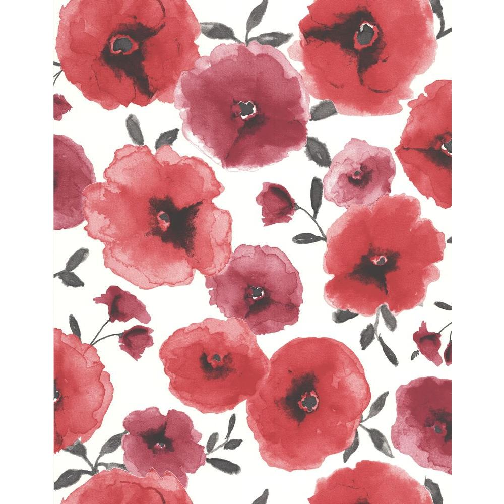 graham & brown poppies red removable wallpaper-32-467 - the home depot