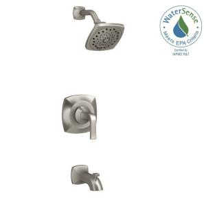 KOHLER Rubicon 1 Handle 3 Spray Wall Mount Tub And Shower Faucet In Brushed  Nickel R76217 4E BN   The Home Depot