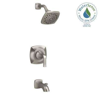 rubicon 1handle 3spray wallmount tub and shower faucet in brushed