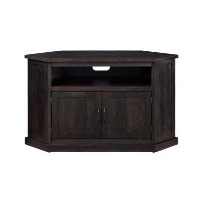 Rustic Corner Espresso Metal Corner TV Stand Fits TVs Up to 55 in. with Cable Management