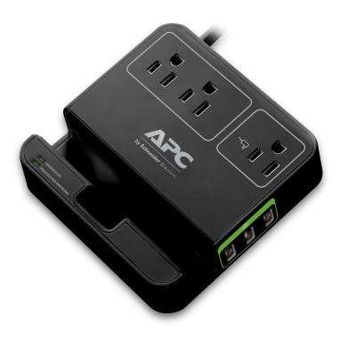 3-Outlet Essential SurgeArrest with 3-USB Charging Ports Tablet Stand, Black