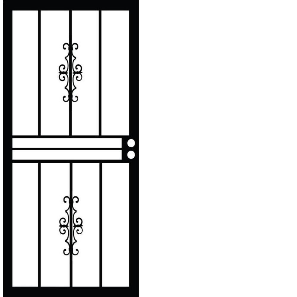 32 in. x 80 in. 501 Series Genesis Steel Black Prehung Security Door