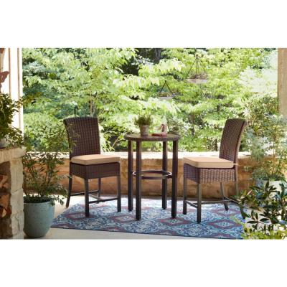 Harper Creek 3-Piece Brown Steel Outdoor Patio Bar Height Dining Set with Sunbrella Beige Tan Cushions