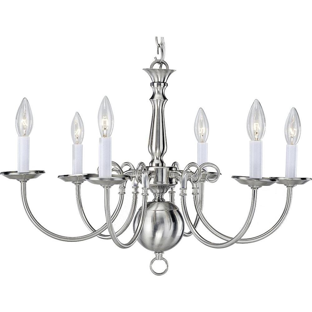 Volume Lighting 6-Light Brushed Nickel Interior Chandelier