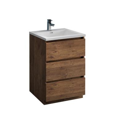 Lazzaro 24 in. Modern Bathroom Vanity in Rosewood with Vanity Top in White with White Basin