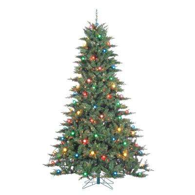 7.5 ft. Pre-Lit Indoor Reno Pine Artificial Christmas Tree with 750 Multicolored UL Lights and 1835 Tips