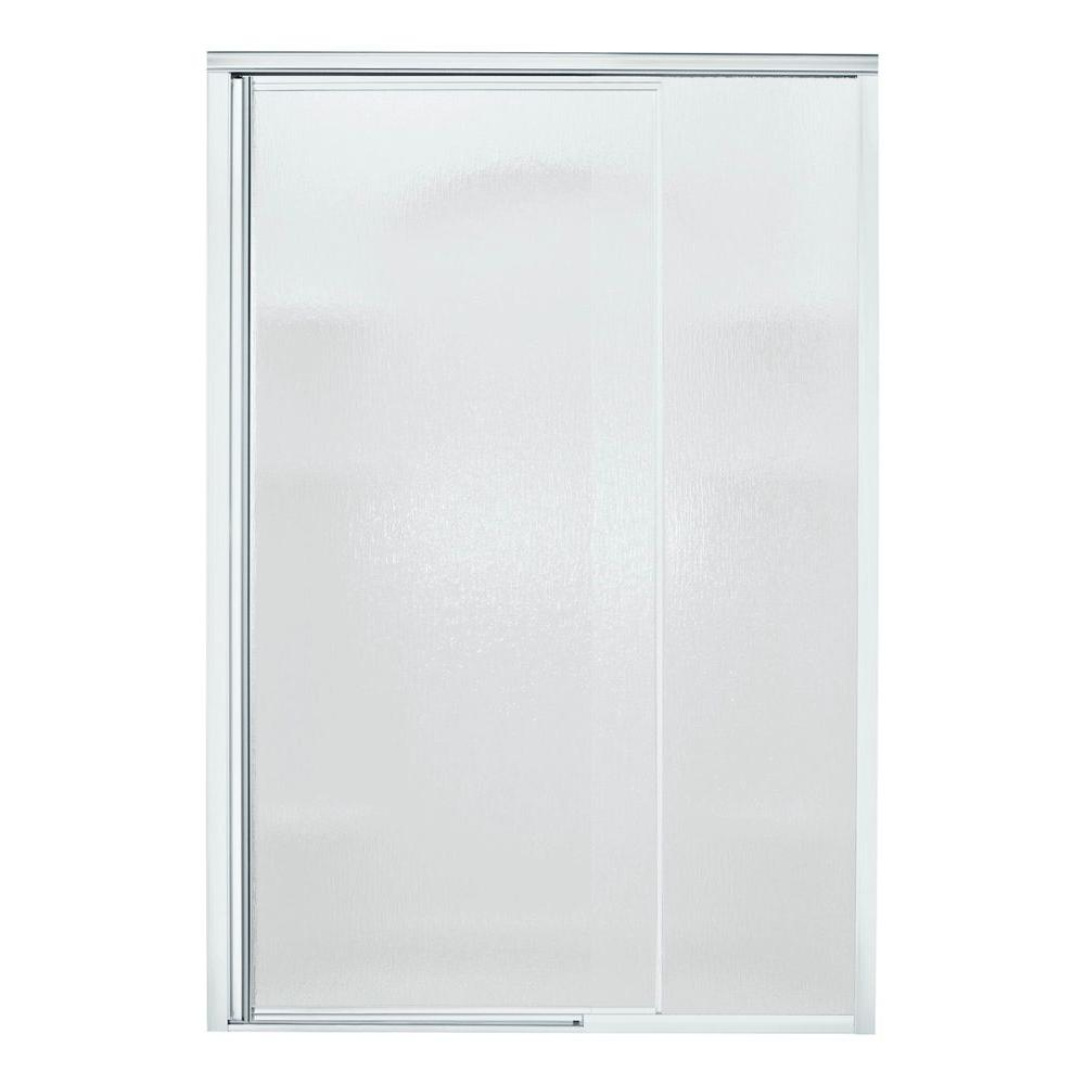 STERLING Vista Pivot II 48 in. x 65-1/2 in. Semi-Framed Pivot Shower Door in Silver with Handle