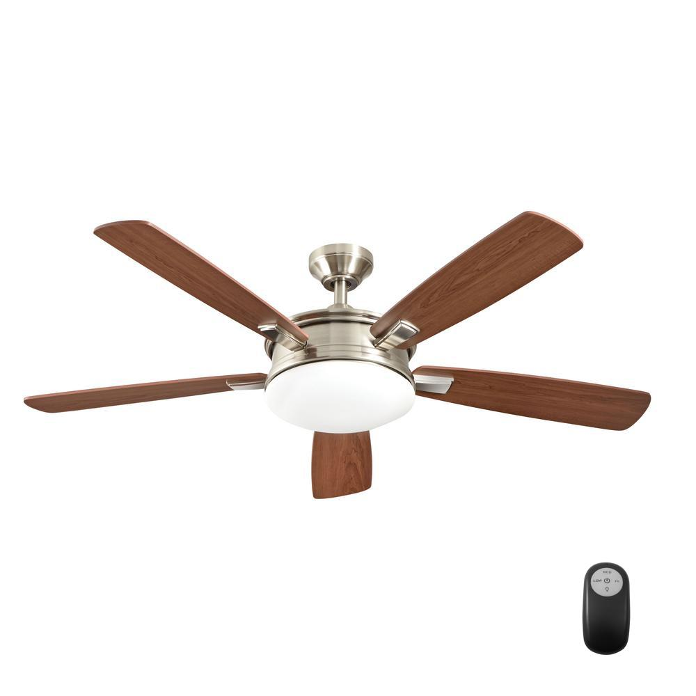 Home Decorators Collection Daylesford 52 In Led Indoor Nickel Ceiling Fan With Light Kit And