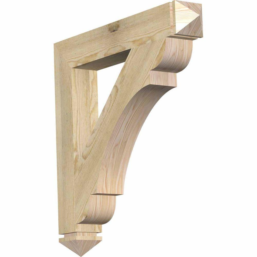 Ekena Millwork 4 in. x 28 in. x 28 in. Douglas Fir Olympic Arts and Crafts Rough Sawn Bracket