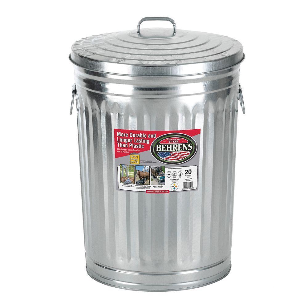 Behrens 20 Gal. Galvanized Garbage Can, Silver Metallic