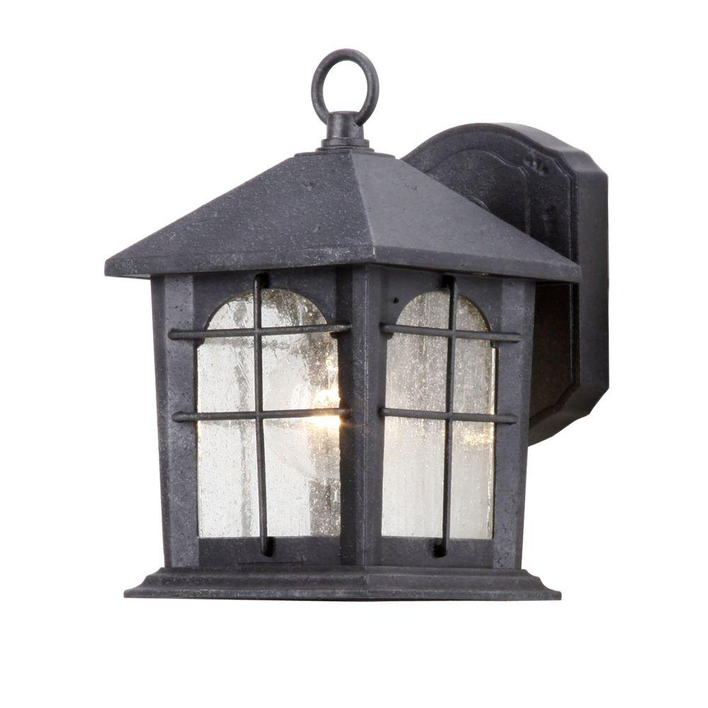 Hampton bay 1 light aged iron outdoor wall mount lantern hb48023p 151 the home depot for Exterior wall mounted lanterns