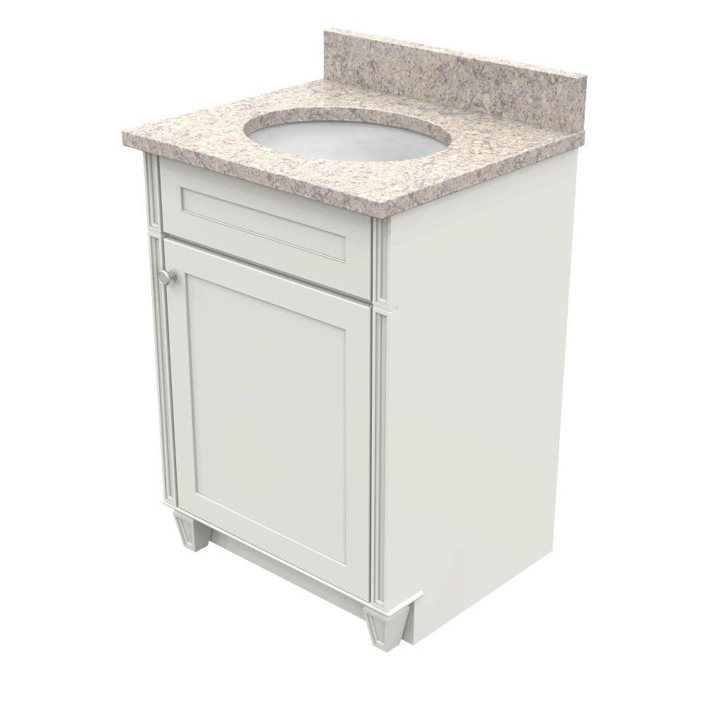 KraftMaid 24 in. Vanity in Dove White with Natural Quartz Vanity Top in Shadow Swirl and White Basin