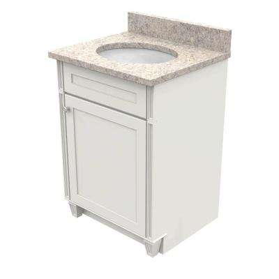 24 in. Vanity in Dove White with Natural Quartz Vanity Top in Shadow Swirl and White Basin