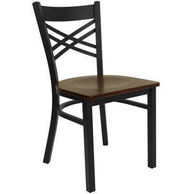 Hercules Series Black X Back Metal Restaurant Chair with Mahogany Wood Seat